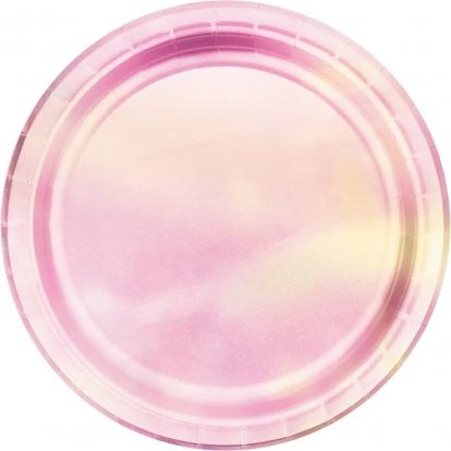 Šķīvīši, rozā perlamutrs (8 gab /17 cm)