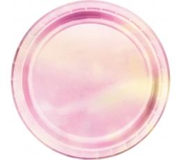 Šķīvīši, rozā perlamutrs (8 gab/22 cm)
