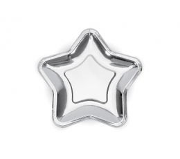 """Šķīvīši """"Sudraba zvaigznes"""" formā (6 gab/18 cm)"""
