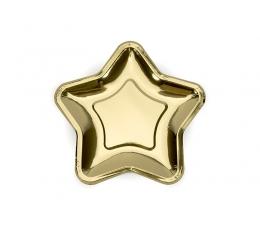 """Šķīvīši """"Zelta zvaigznes"""" formā (6 gab/ 18 cm)"""