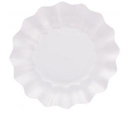 Šķīvīši-ziediņi, balti perlamutra (8 gab/27 cm)