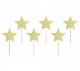 """Uzkodu kociņi-dekorācija """"Zelta zvaigznes"""" (6 gab.)"""