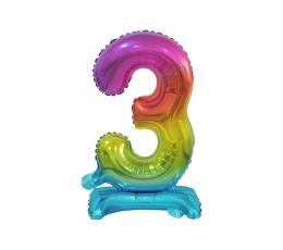"""Stāvošs folija balons """"3"""", varavīksnes krāsās (38 cm)"""