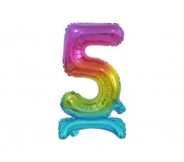 """Stāvošs folija balons """"5"""", varavīksnes krāsās (38 cm)"""