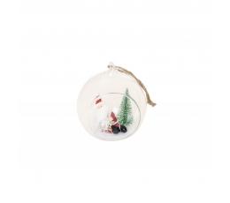 Stikla dekorācija ar Ziemassvētku vecīti (7 x 6,5 x 8cm)