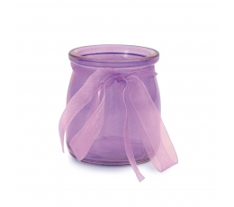 Stikla trauciņš ar lentīti, violets  (7,5x6,5 cm)