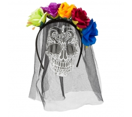 Stīpiņa ar plīvuru, galvaskausa zīmējumu un krāsainiem ziediem