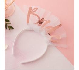 """Stīpiņa """"Bride"""", balta ar rozā zelta uzrakstu"""