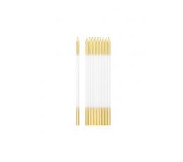 Sveces, baltas - zelta (10 gab. /15 cm)
