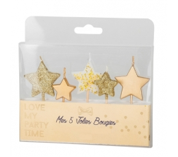 """Sveces - irbulīši """"Zvaigznītes"""", zelta (5 gab. / 7 cm)"""