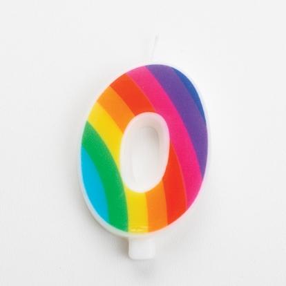 """Svecīte """"0"""", varavīksnes krāsās, sprakstoša"""