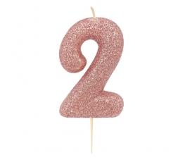 """Svecīte """"2"""", rozā zelta"""