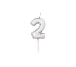 "Svecīte ""2"", sudraba(8 cm)"