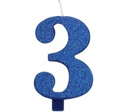 """Svecīte """"3"""", zila"""