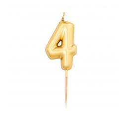 """Svecīte """"4"""", zelta (8 cm)"""