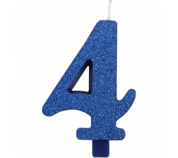 """Svecīte """"4"""", zila"""