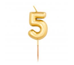 """Svecīte """"5"""", zelta (8 cm)"""