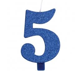"""Svecīte """"5"""", zila"""