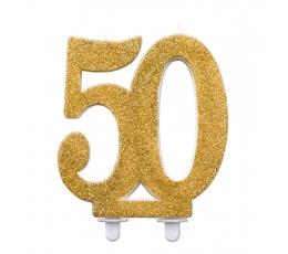 """Svecīte """"50"""", zelta (12 cm)"""