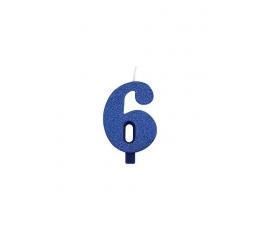 """Svecīte """"6"""", zila"""