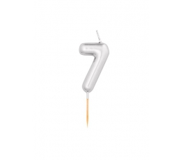 "Svecīte ""7"", sudraba (8 cm)"