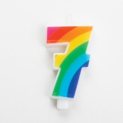 """Svecīte """"7"""", varavīksnes krāsās, sprakstoša"""