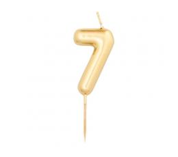 """Svecīte """"7"""", zelta (8 cm)"""