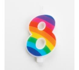 """Svecīte """"8"""", varavīksnes krāsās, sprakstoša"""