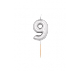 "Svecīte ""9"", sudraba (8 cm)"