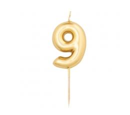 """Svecīte """"9"""" , zelta"""