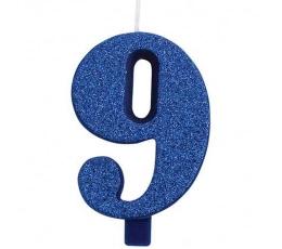 """Svecīte """"9"""", zila"""