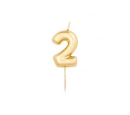 """Svecīte""""2"""", zelta (8 cm)"""