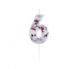 """Svecīte""""6"""", ar ziedlapiņām"""