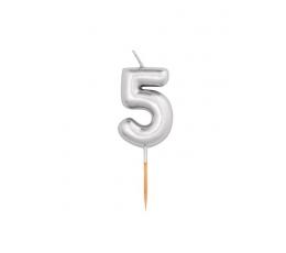 "Svecīte ""5"", sudraba (8 cm)"