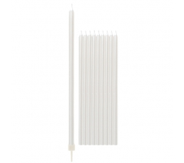 Svecītes, baltas perlamutra, garas (10 gab/15 cm)