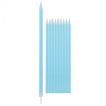 Svecītes, gaiši zilas-garas (10 gab/15 cm)
