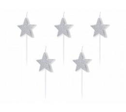 """Svecītes """"Sudraba zvaigznītes"""" (5 gab.)"""