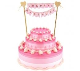 "Tortes dekorācija ""Happy birthday"", rozā - zelta (25 cm)"