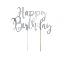 Tortes dekorācija ,,Happy Birthday'', sudraba