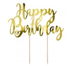 """Tortes dekorācija """"Happy Birthday"""", zelta"""
