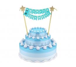 """Tortes dekorācija """"Happy birthday"""", zila - zelta (25 cm)"""