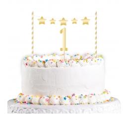 """Tortes dekorācija """"Pirmā dzimšanas diena"""", zelta"""