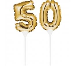 """Tortes dekorācija-skaitlis """"50"""", zelta krāsā"""