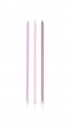 Tortes svecītes, garas - rozā, lillā  (16 gab)