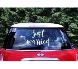 """Uzlīme automašīnai """"Just Married"""" (33x45cm)"""