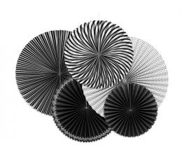 Vēdekļu komplekts, melnbalts (5 gab)