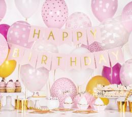 """Virtene """"Happy Birthday"""", rozā-zelta (1,75 m) 1"""