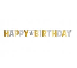 """Virtene, """"Happy Birthday"""", sudraba - zelta (3,2m)"""