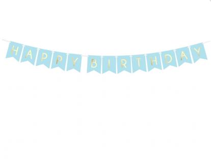 """Virtene """"Happy Birthday"""", zila-zelta (1,75 m)"""