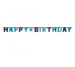"Virtene, ""Happy Birthday"", zilās krāsās (2,4 m)"